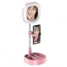 Lampa circulara patrata EDAR® de machiaj, cu oglinda si suport telefon/accesorii, 64 leduri, roz
