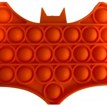Jucarie senzoriala antistres din silicon, forma batman, portocaliu