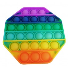 Jucarie antistres EDAR® senzoriala, din silicon, impermeabila, octogon, multicolor