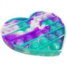 Jucarie senzoriala antistres din silicon, forma inima, turcoaz/mov