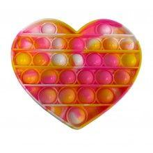 Jucarie antistres EDAR® senzoriala, din silicon, impermeabila, forma inima, multicolor