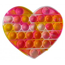 Jucarie senzoriala antistres din silicon, forma inima, galben/roz