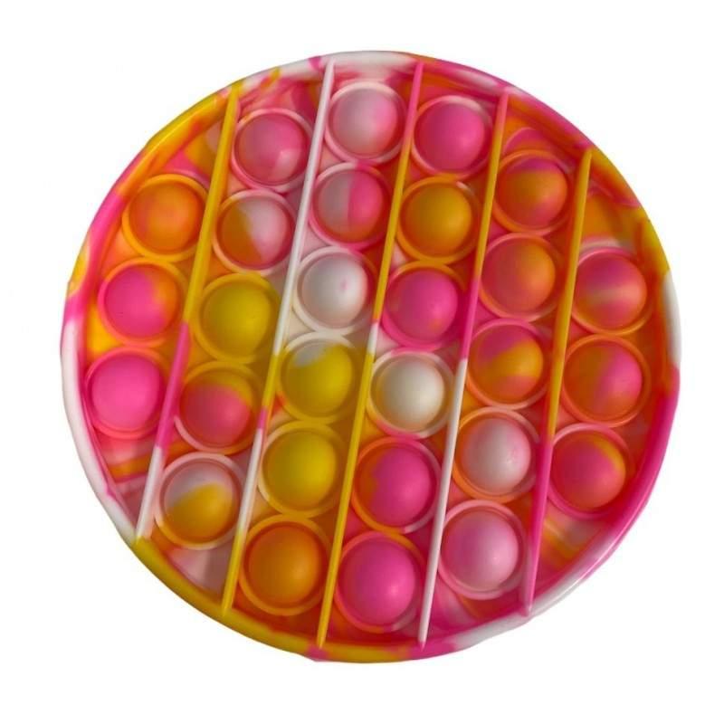 Jucarie senzoriala antistres din silicon, forma rotunda, roz/galben