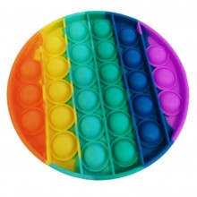 Jucarie senzoriala antistres din silicon, forma rotunda, curcubeu