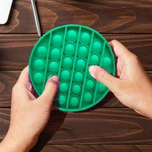 Jucarie senzoriala antistres din silicon, forma rotunda, verde