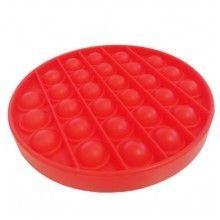 Jucarie senzoriala antistres din silicon, forma rotunda, rosu