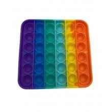 Jucarie antistres SIKS® senzoriala, din silicon, impermeabila, patrat, multicolor