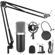 Microfon profesional de studio cu condensator si stand, reproducere vocala naturala, negru/argintiu