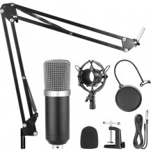Microfon profesional EDAR® studio, cu condensator si cablu audio, reproducere vocala naturala, negru/auriu