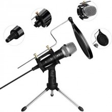 Microfon profesional de studio cu condensator si mini trepied, reproducere vocala naturala, negru/argintiu