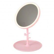 Oglinda pentru machiaj rotunda cu lumini led, incarcare USB, roz