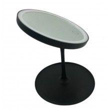 Oglinda pentru machiaj SIKS® rotunda, cu lumini led, incarcare USB, negru