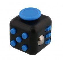 Cub antistres EDAR® pentru copii si adulti, jucarie interactiva cu diverse functii, 30x30 mm, negru/albastru