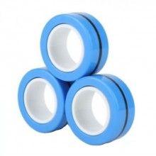 Jucarie antistres EDAR® set 3 inele magnetice, actiune calmanta, elimina stresul, albastru