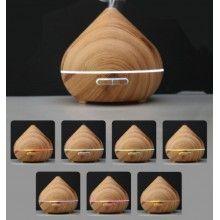 Difuzor de aromaterapie EDAR® model bulb, ultrasonic, cu lumini led, telecomanda, 400ml, lemn deschis