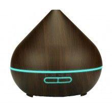 Umidificator cu telecomanda, ultrasunete si lumini led, 400 ml, lemn inchis