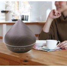 Difuzor de aromaterapie EDAR® model bulb, ultrasonic, cu lumini led, telecomanda, 400ml, lemn inchis