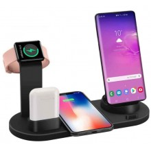 Statie de incarcare universala Fast Wireless Charger 4 in 1, incarcare telefon, airpods si smartwatch, negru