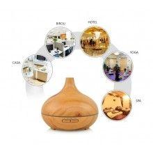 Umidificator cu ultrasunet EDAR® aromaterapie, rezervor 500 ml, culoare lemn deschis