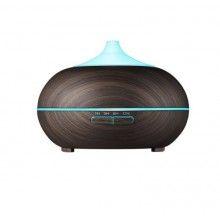 Umidificator cu ultrasunete si lumini led, purificator aer 500 ml, lemn inchis