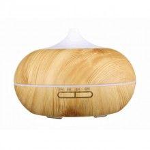 Umidificator cu ultrasunete si lumini led, purificator aer 500 ml, lemn deschis