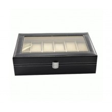 Cutie depozitare EDAR® pentru 12 ceasuri, capac transparent, piele ecologica, negru
