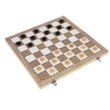 Joc educativ 3 in 1 sah, table, dama, lemn, 34x18 cm