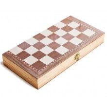 Joc educativ 3 in 1 sah, table, dama, lemn, 30x16 cm