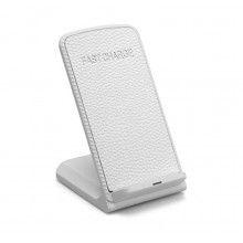 Incarcator wireless Fast charger cu doua bobine, portabil, alb