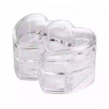 Cutie transparenta in forma de inima pentru depozitare bijuterii/cosmetice