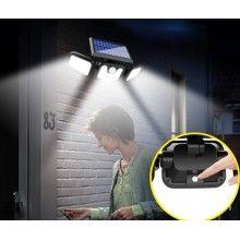 Lampa solara EDAR® de perete, cu senzor de miscare, 74 leduri, incarcare solara
