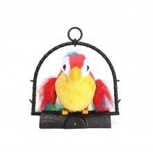 Papagal vorbitor EDAR® jucarie interactiva care repeta cuvinte, 21 cm, miscator, multicolor