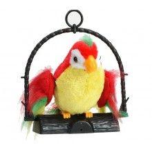 Jucarie interactiva de plus papagal vorbitor, 18 cm