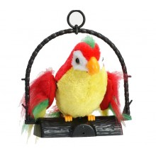 Papagal vorbitor EDAR® jucarie interactiva care repeta cuvinte, 18 cm, miscator, multicolor