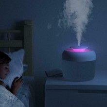 Umidificator SIKS® difuzor aroma, purificare aer, silentios, rezervor 2400 ml, roz/gri