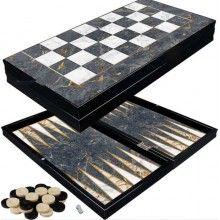 Table EDAR® joc de societate, backgammon, model culoare marmura