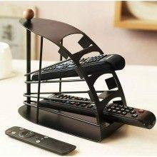 Organizator telecomenzi SIKS® 4 rafturi, forma curbata, otel, negru