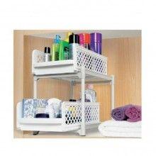 Organizator SIKS® doua rafturi glisante, pentru cutii, recipiente, bucatarie, baie, alb
