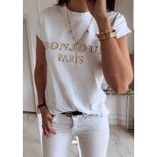 "Tricou dama alb cu text ""BONJOUR PARIS"" masura L"