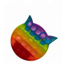 Jucarie antistres EDAR® senzoriala, din silicon, impermeabila, pisica, multicolor