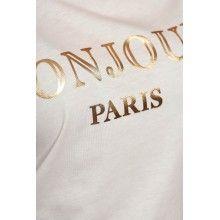 "Tricou dama alb cu text ""BONJOUR PARIS"""