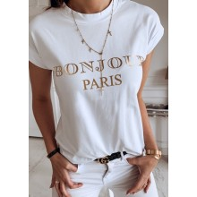 "Tricou dama alb cu text ""BONJOUR PARIS"" masura M"