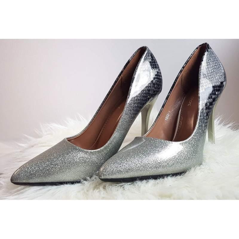 Pantofi stiletto cu toc GLITTER SNAKE marimea 36