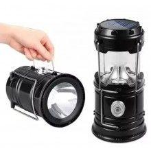 Lampa solara EDAR® reincarcabila, pentru camping, vanatoare, pescuit, negru