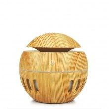 Umidificator aer SIKS® difuzor aromaterapie, 7 lumini led, rezervor 130 ml, lemn deschis
