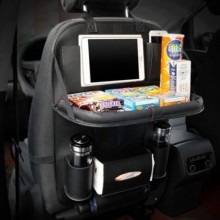Organizator auto EDAR® multifunctionala pentru scaun, cu tavita, piele ecologica, negru