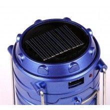 Lampa solara EDAR® de mana reincarcabila, pentru camping, vanatoare, pescuit, albastru