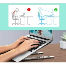 Suport laptop SIKS® pliabil, universal, aluminiu rezistent, argintiu