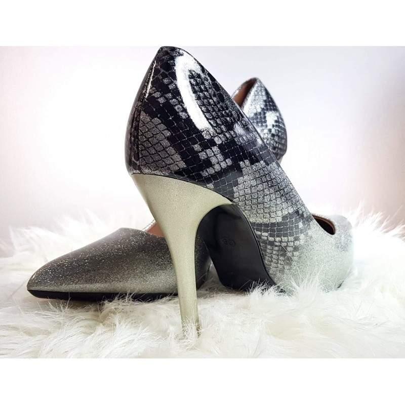 Pantofi stiletto cu toc GLITTER SNAKE marimea 39
