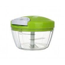 Tocator manual EDAR® pentru legume, 3 cutite, actionare cu snur, verde/alb